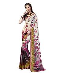 Inddus Exclusive Women Elegante Cream Georgette Printed Saree