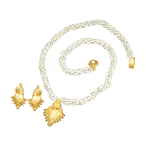 0d822a025b Surat Diamonds Gold Plated Pendant & 3 Line Twisted Pearl Necklace &  Earring Set For Women