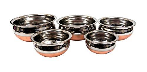 Aristo Steel Copper Bottom Handi Set Of 5,Stainless Steel,Silver