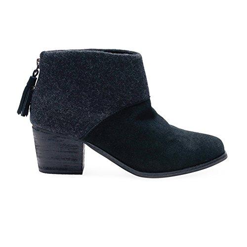 TOMS Women's Leila Bootie Black Wool Felt Boot