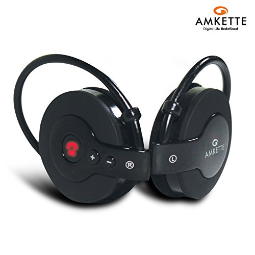 Amkette Trubeats IGO - Ultra Portable Bluetooth Headphone With Stylish Carry Case - Black