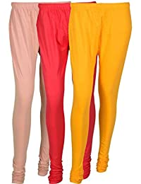 Cotton Leggings (Culture The Dignity Women's Cotton Leggings Combo Of 3_CTDCL_CPY_CREAM-PINK-YELLOW_FREESIZE)
