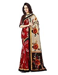 Inddus Women Red & Beige Color Art Silk Fashion Saree