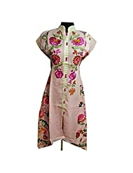 Light Pink Embroidered Georgette Casual Kurti Semi Stitched