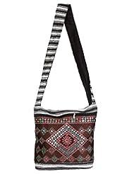 Rajrang Handmade Designs Sun Canvas Patch Work Brown Sling Bag
