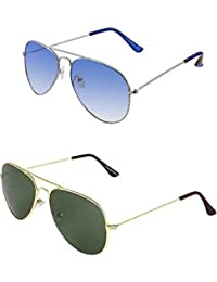 SHEOMY COMBO OF STYLISH SILVER BLUE AVIATOR GOGGLES AND GOLDEN GREEN AVIATOR SUNGLASSES WITH 2 BOX