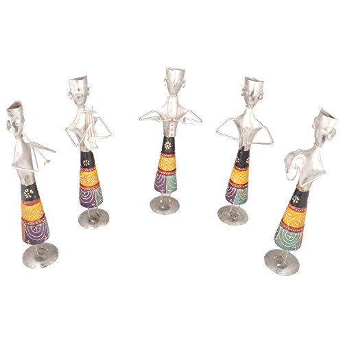 Rajgharana Handicrafts Multi Color Wood And Metal Standing Musicians (Set Of 5) - (12 Cm X 33 Cm)