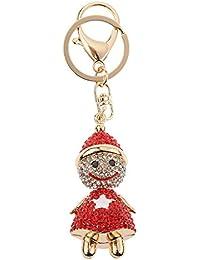 Imported Fashion Rhinestone Cartoon Snowman Shape Keychain Key Ring Bag Charm Red