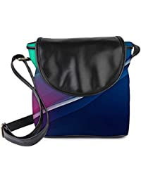 Snoogg Dark Blue And Grey Womens Sling Bag Small Size Tote Bag