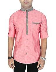 Kuons Avenue Mens Salmon Pink Linen Cotton Mandarin Collar Long Sleeve Solid Casual Shirt