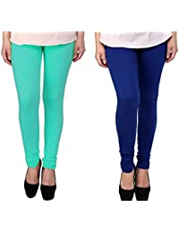 Snoogg Womens Ethnic Chic Inspired Churidar Leggings In Sky Blue And Blue