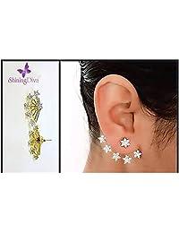 Shining Diva Latest Bollywood Designer 18K AD Star Stylish Fancy Party Wear Earcuff Earrings 2 Pc Gift Set For...