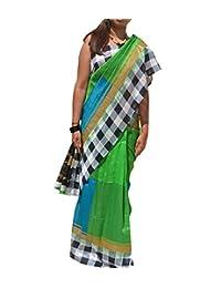 Natasha Couture Green & Blue Semi Silk Saree For Women