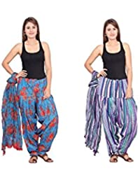 Rama Set Of 2 Printed White & Blue Colour Cotton Full Patiala With Dupatta Set