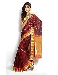 Sudarshan Pure Silk Kanjeevaram Hand Woven Saree (MCSS11_Maroon)