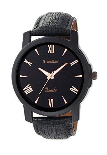 GRANDLAY GL-1045 BLACK LEATHER ANALOG WATCH FOR MEN