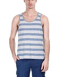 Zobello Men's Jacquard Yarn Dye Stripe Knit Tank - B00ULAY5NW