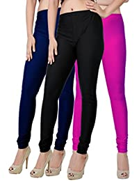 Fashion And Freedom Women's Pack Of 3 Navy,Black And Magenta Satin Leggings