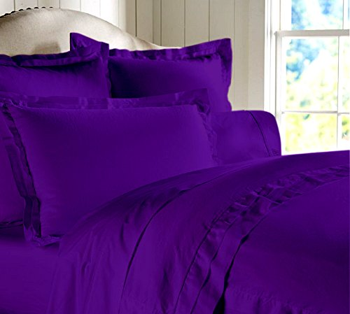 "Egyptian Cotton Luxurious Fitted Sheet With 15"" Deep Pocket 800 TC Solid By Amrich Bedding ( Short Queen , Purple..."