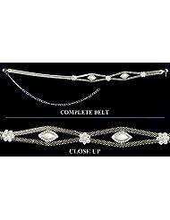 White Stone Studded Metal Kamarband - Stone And Metal - B00K4F3666