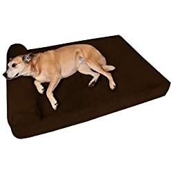 Big Barker 7 Pillow Top Orthopedic Dog Bed - Large Size - 48 X 30 X 7 - Chocolate - For Large and Extra Large Breed Dogs (Headrest Edition)