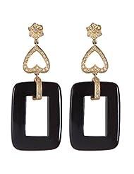 Amethyst By Rahul Popli Black Silver Stud Earrings - B00OYSBXCS