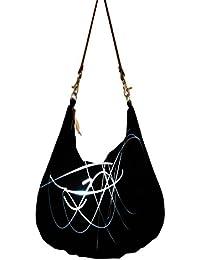 White Lines In Black Obo, Ethnic Hobo Bag, Aztec Hobo Bag, Native Style Bag, Large Hobo Bag, Zipper Closure Bag...