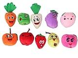 10 Pcs Velvet Fruit Vegetable Finger Puppets Set
