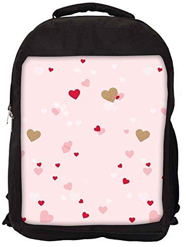 Snoogg Heart Pattern Pink Backpack Rucksack School Travel Unisex Casual Canvas Bag Bookbag Satchel