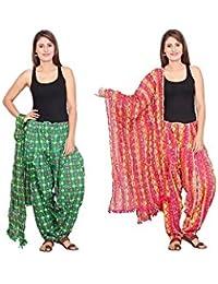 Rama Set Of 2 Printed Green & Pink Colour Cotton Full Patiala With Dupatta Set