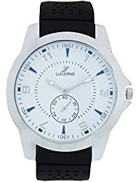 LUCERNE White Dial Analog Leather Strap Wrist Watch For Men . Christmas And New Year Sale.