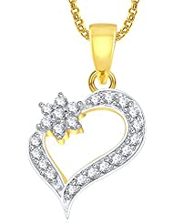 Meenaz Heart Pendants For Women Girls With Chain Gold Plated In American Diamond PS442