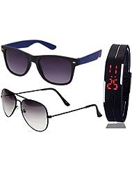 BLUE WAYFARER SUNGLASSES AND HALF BLACK AVIATOR SUNGLASSES WITH TPU BAND RED LED DIGITAL BLACK DIAL UNISEX WATCH