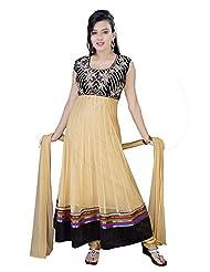 Divinee Beige Net Readymade Anarkali Suit