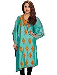 Exotic India Agate-Green Kaftan From Kashmir With Ari Hand-Embroidered P - Green
