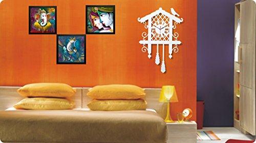 Saf Ganesh Painting With Wall Clock Radha Krishna Painting