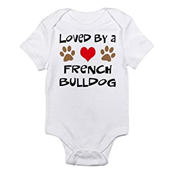 french bulldog baby clothes amazon com cafepress loved by a french bulldog infant 8665