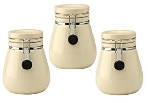 cream kitchen storage jars typhoon set of 3 clip storage jars canisters 6283