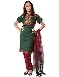 Exotic India Emerald And Garnet Choodidaar Suit With Antiqu - Emerald And Garnet
