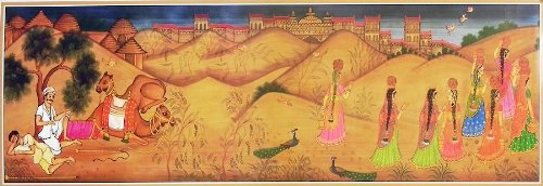 """Dolls Of India """"Panihari Ladies And Camel Riders From Rajasthan Desert"""" Reprint On Paper - Unframed (91.44 X 29.21..."""