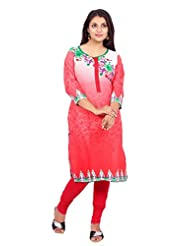 Desi Aura Straight Fit Long Fancy Cotton Printed Kurtis For Fashionable Women(Pack Of 1) - B017F8QPHQ