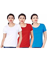 Fleximaa Women's Cotton Round Neck T-Shirt Plain (Pack Of 3) - White, Red & Blue Colors.