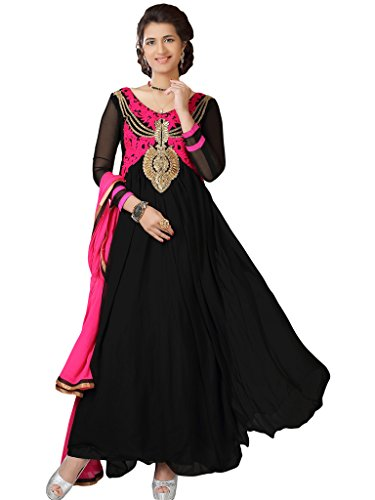Women's Black & Pink Embroidered Georgette Suit