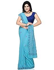 Utsav Fashion Women's Light Aqua Blue Viscose Georgette Saree With Blouse