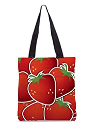 Snoogg Strawberry Sticker Background Card In Vector Format Designer Poly Canvas Tote Bag