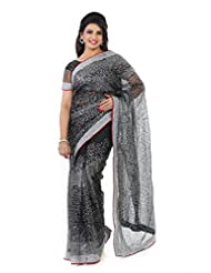 Designersareez Women Net Embroidered Black Saree With Unstitched Blouse(1322)