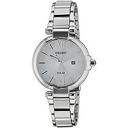 Seiko Solar - Reloj de cuarzo para mujer, correa de acero inoxidable color plateado
