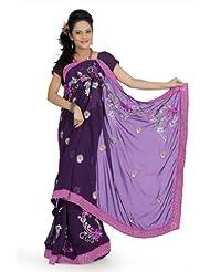 Designersareez Women Faux Georgette Embroidered Dark Purple Saree With Unstitched Blouse(686)