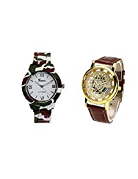 COSMIC COMBO WATCH- COLORFUL STRAP ANALOG WATCH FOR WOMEN AND BROWN ANALOG SKELETON WATCH FOR MEN - B01CGF6UVO
