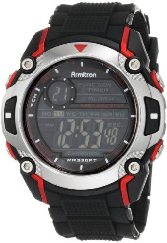 Armitron Sport Men's 408232RED Chronograph Black Resin Strap